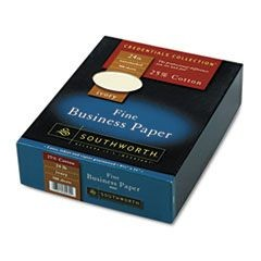 25% Cotton Business Paper, Ivory, 24 lbs., Wove, 8-1/2 x 11,  500/Box, FSC