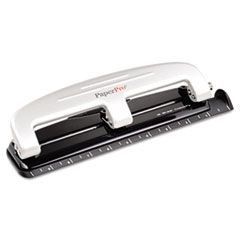 12-Sheet Capacity ProPunch Compact Three-Hole Punch, Rubber Base, Black/Gray
