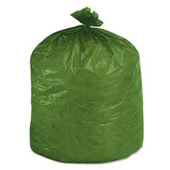 Eco-Degradable Plastic Trash Garbage Bag, 33gal, 1.1mil, 33 x 40, Green, 40/Box