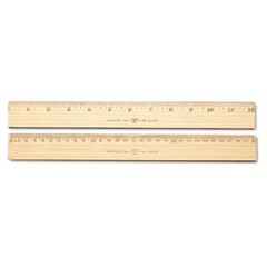 "1Wood Ruler, Metric and 1/16"" Scale with Single Metal Edge, 30 cm"