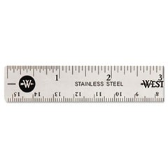 1Stainless Steel Office Ruler With Non Slip Cork Base, 6""