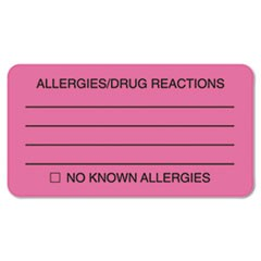 Allergies/Drug Reaction Labels, 1-3/4 x 3-1/4, Fluor Pink, 250/Roll