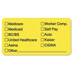 Labels for Insurance List, 1-3/4 x 3-1/4, Yellow, 250/Roll