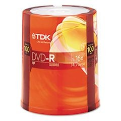 DVD-R Discs, 4.7GB, 16x, Spindle, 100/Pack