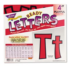 "1Ready Letters Playful Combo Set, Red, 4""h, 216/Set"