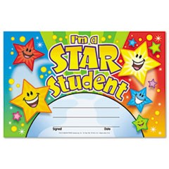 Recognition Awards, I'm a Star Student, 8 1/2w by 5 1/2h, 30/Pack