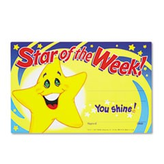 Recognition Awards, Star of the Week!, 8-1/2w x 5-1/2h, 30/Pack