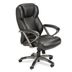 Leather Seating Series High-Back Swivel/Tilt Chair, Black Leather