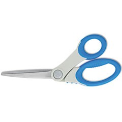 Soft Handle Bent Scissors With Antimicrobial Protection, Blue, 8