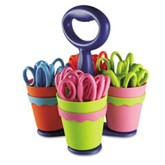 School Scissor Caddy and 24 Kids Scissors With Microban, 5