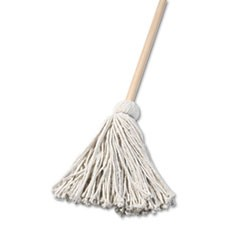 "Deck Mop, 48"" Wooden Handle, 16oz Cotton Fiber Head"