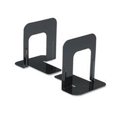 Economy Bookends, Standard, 4 3/4 x 5 1/4 x 5, Heavy Gauge Steel, Black