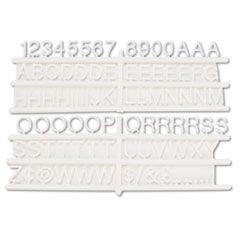 "Tabbee Sign Characters, Tab, White, 3/4""h, 258/Set"