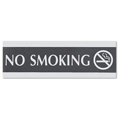 Century Series Office Sign, NO SMOKING, 9 x 3, Black/Silver