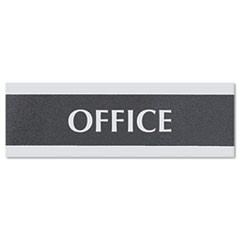 Century Series Office Sign, OFFICE, 9 x 3, Black/Silver