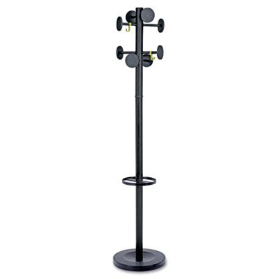 Stan3 Steel Coat Rack, Stand Alone Rack, Eight Knobs, Powder Coat Black