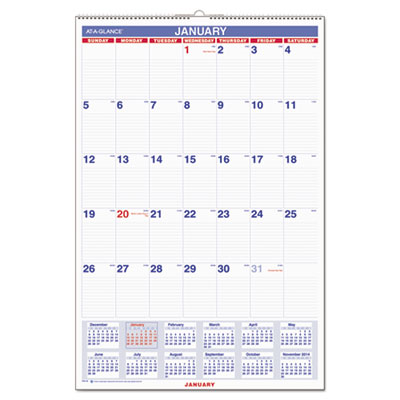 Monthly Wall Calendar with Ruled Daily Blocks, 20 x 30, White, 2017
