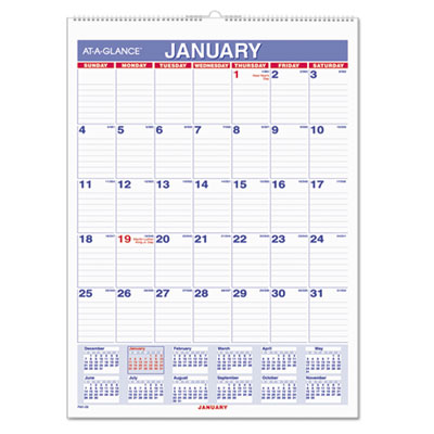 Monthly Wall Calendar with Ruled Daily Blocks, 8 x 11, White, 2017