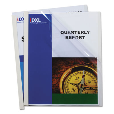 Report Covers with Binding Bars, Vinyl, Clear, 1/8