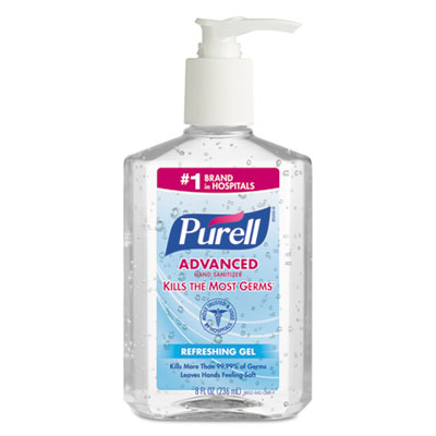 Advanced Refreshing Gel Hand Sanitizer, Clean Scent, 8 oz Pump Bottle, 12/Carton