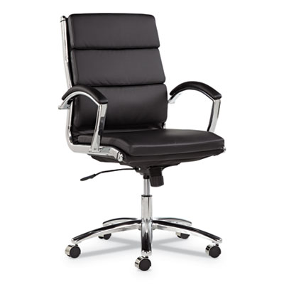 Alera Neratoli Mid-Back Slim Profile Chair, Supports up to 275 lbs, Black Seat/Black Back, Chrome Base