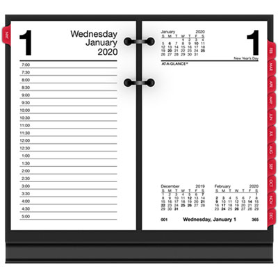 Desk Calendar Refill with Tabs, 3 1/2 x 6, White, 2019