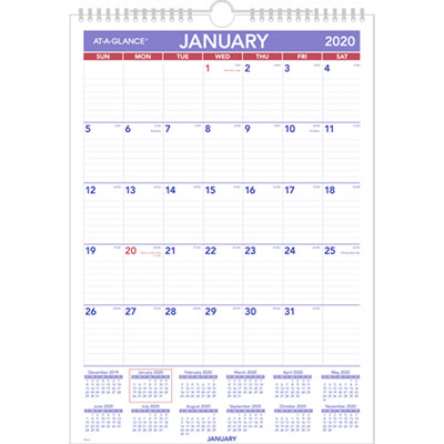 Monthly Wall Calendar with Ruled Daily Blocks, 12 x 17, White, 2019
