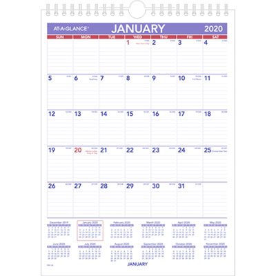 Monthly Wall Calendar with Ruled Daily Blocks, 8 x 11, White, 2019