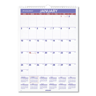 Monthly Wall Calendar with Ruled Daily Blocks, 12 x 17, White, 2021