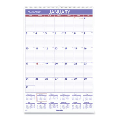Monthly Wall Calendar with Ruled Daily Blocks, 20 x 30, White, 2021